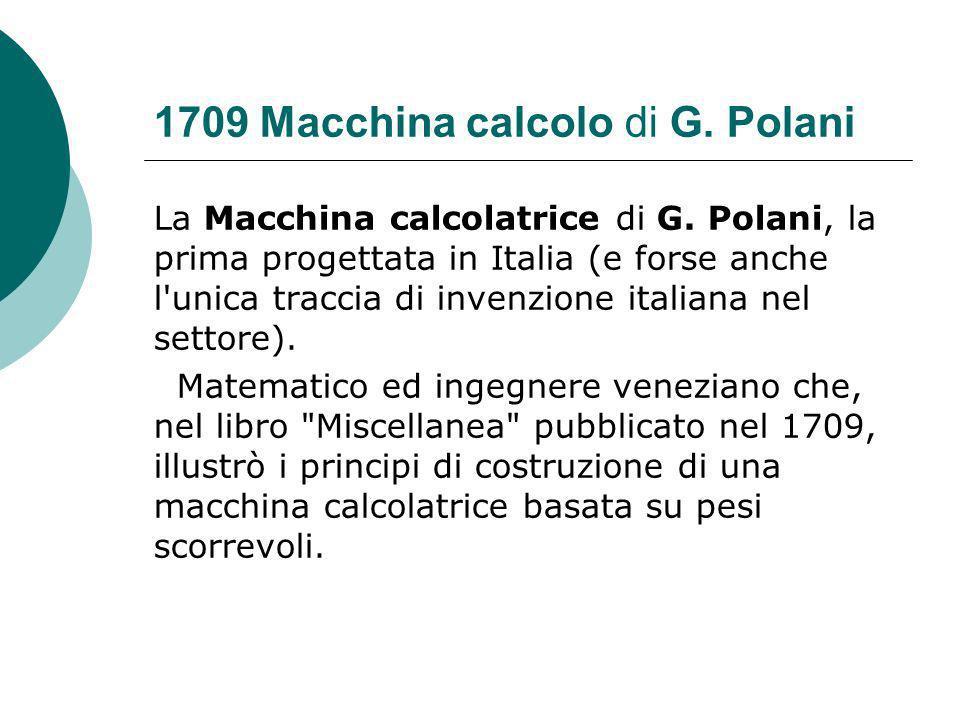 1709 Macchina calcolo di G.Polani La Macchina calcolatrice di G.