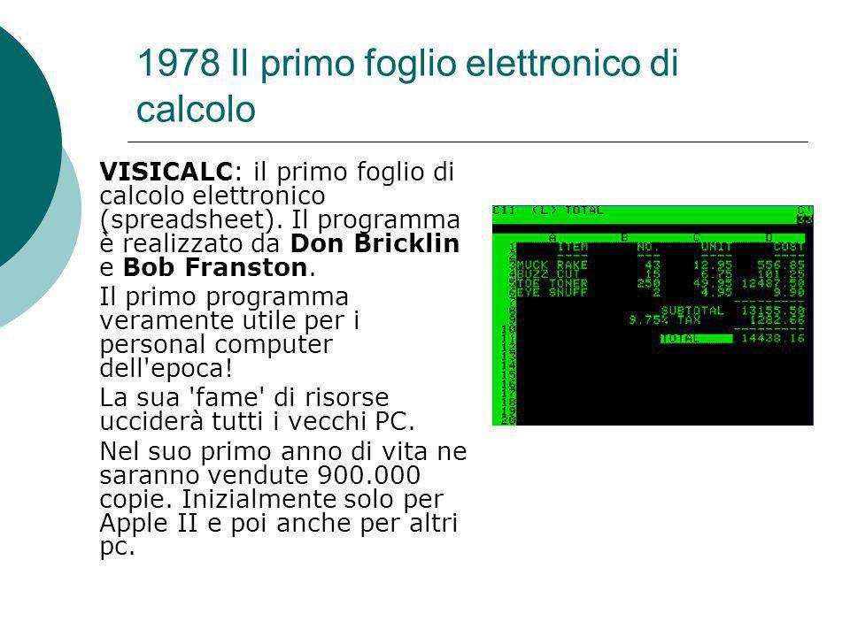 1978 Il primo foglio elettronico di calcolo VISICALC: il primo foglio di calcolo elettronico (spreadsheet).