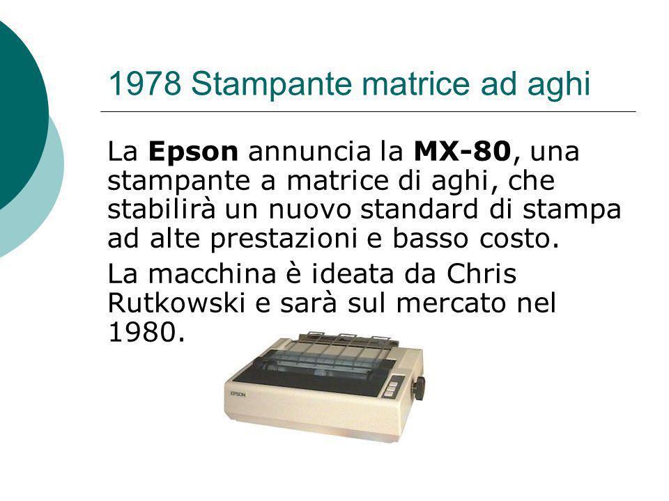1978 Stampante matrice ad aghi La Epson annuncia la MX-80, una stampante a matrice di aghi, che stabilirà un nuovo standard di stampa ad alte prestazioni e basso costo.