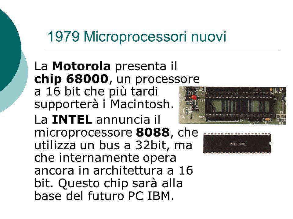 1979 Microprocessori nuovi La Motorola presenta il chip 68000, un processore a 16 bit che più tardi supporterà i Macintosh.