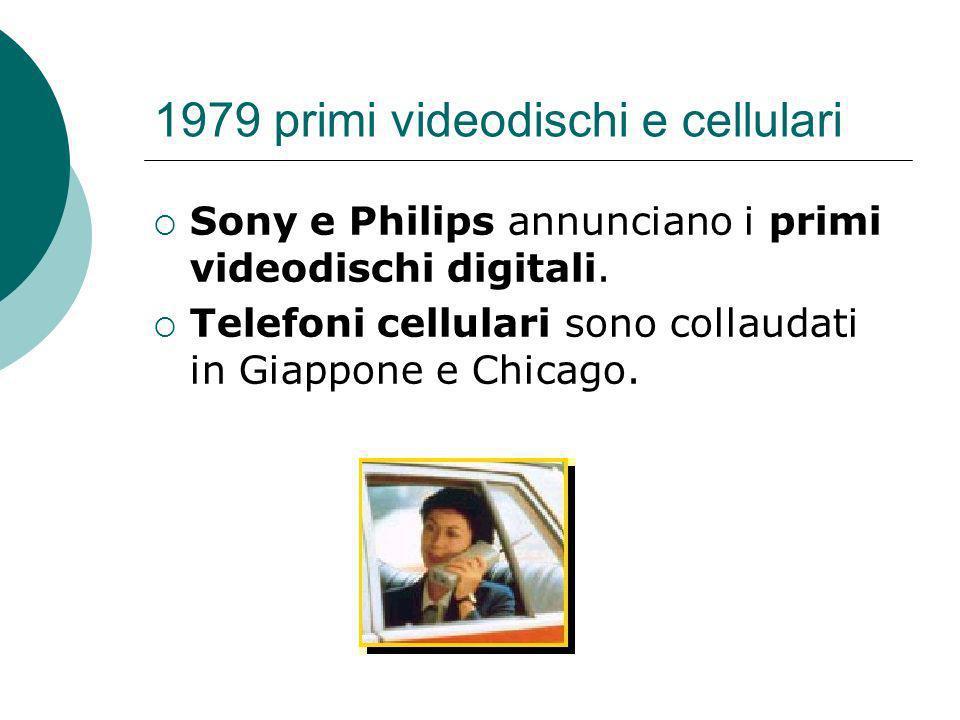 1979 primi videodischi e cellulari Sony e Philips annunciano i primi videodischi digitali.