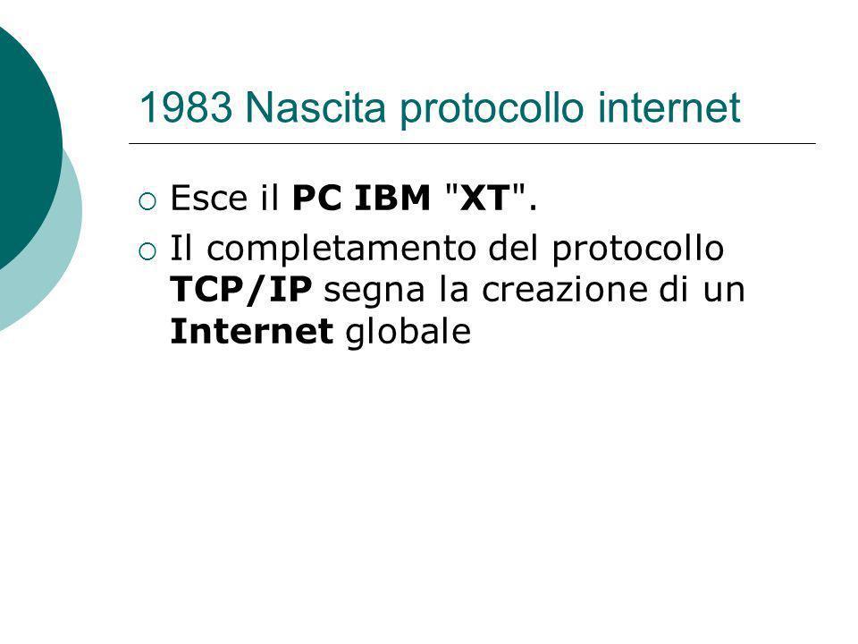 1983 Nascita protocollo internet Esce il PC IBM XT .