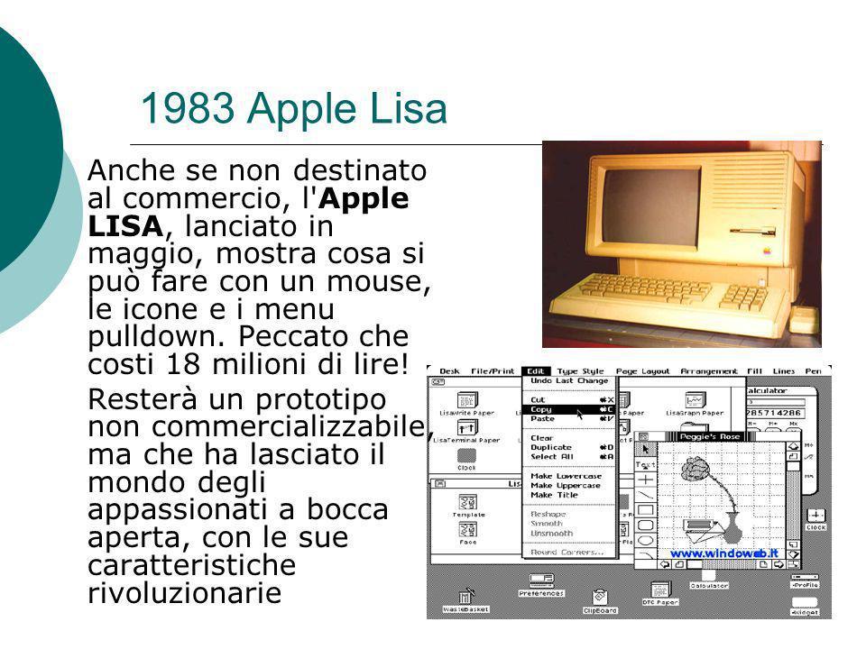 1983 Apple Lisa Anche se non destinato al commercio, l Apple LISA, lanciato in maggio, mostra cosa si può fare con un mouse, le icone e i menu pulldown.