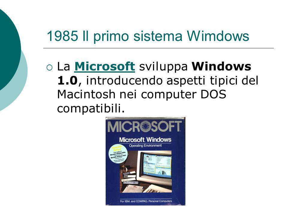 1985 Il primo sistema Wimdows La Microsoft sviluppa Windows 1.0, introducendo aspetti tipici del Macintosh nei computer DOS compatibili.Microsoft