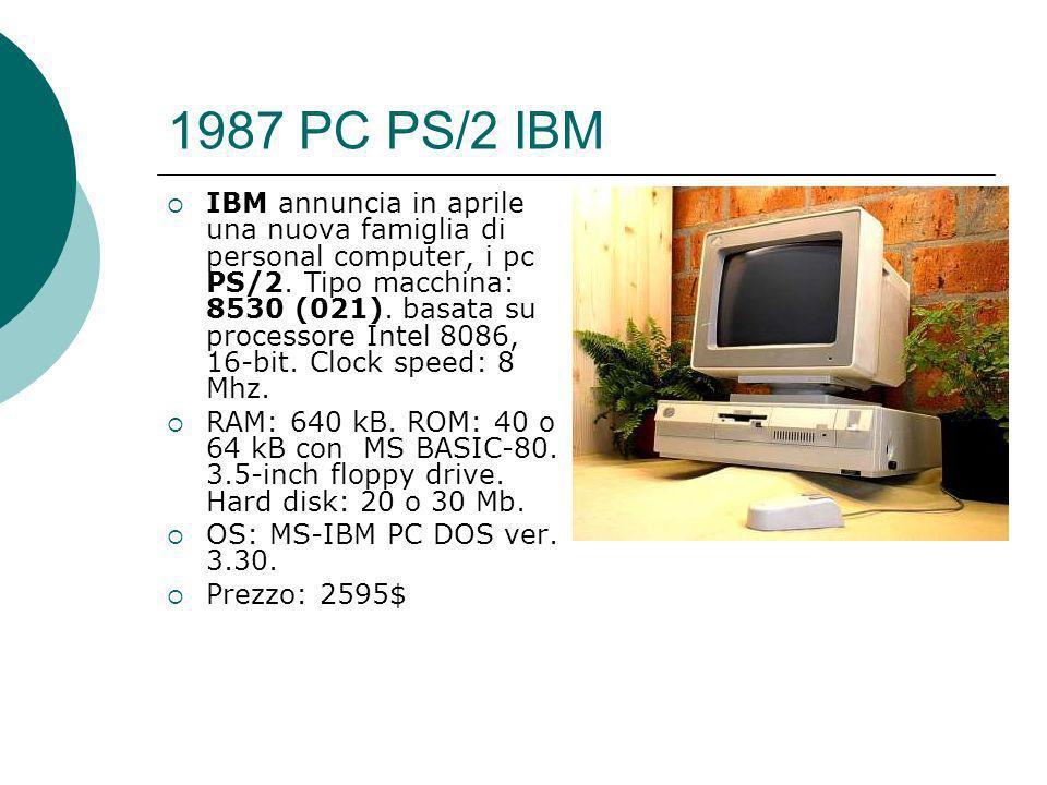 1987 PC PS/2 IBM IBM annuncia in aprile una nuova famiglia di personal computer, i pc PS/2.