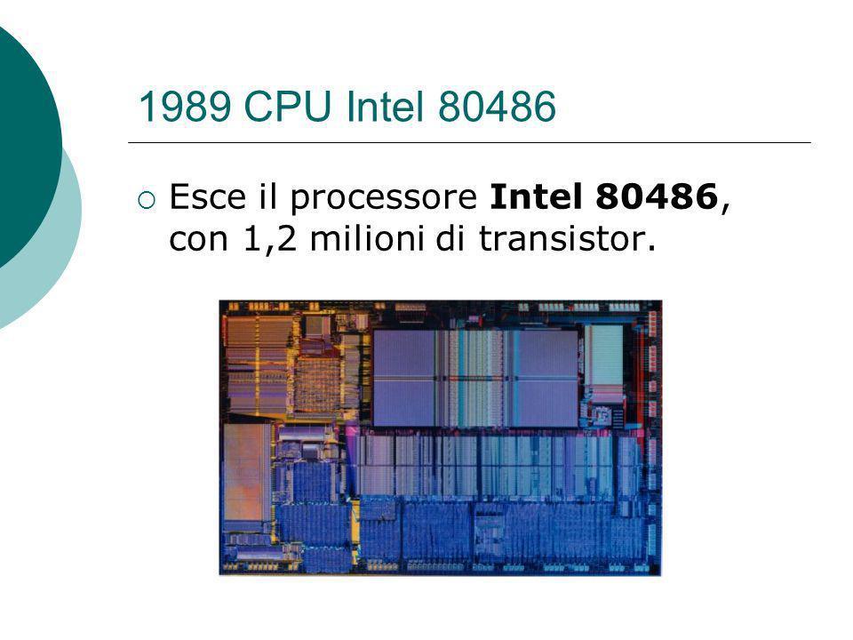 1989 CPU Intel 80486 Esce il processore Intel 80486, con 1,2 milioni di transistor.