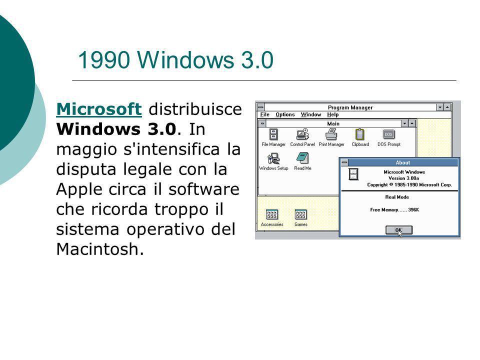 1990 Windows 3.0 MicrosoftMicrosoft distribuisce Windows 3.0.
