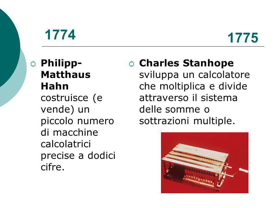 1774 Philipp- Matthaus Hahn costruisce (e vende) un piccolo numero di macchine calcolatrici precise a dodici cifre.