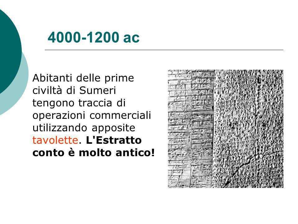 4000-1200 ac Abitanti delle prime civiltà di Sumeri tengono traccia di operazioni commerciali utilizzando apposite tavolette.