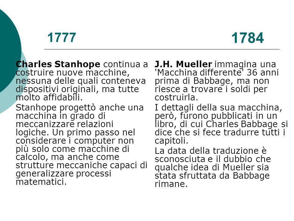 1777 Charles Stanhope continua a costruire nuove macchine, nessuna delle quali conteneva dispositivi originali, ma tutte molto affidabili.