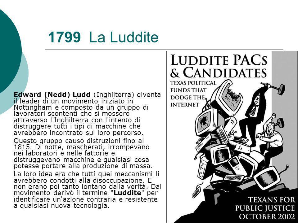 1799 La Luddite Edward (Nedd) Ludd (Inghilterra) diventa il leader di un movimento iniziato in Nottingham e composto da un gruppo di lavoratori scontenti che si mossero attraverso l Inghilterra con l intento di distruggere tutti i tipi di macchine che avrebbero incontrato sul loro percorso.