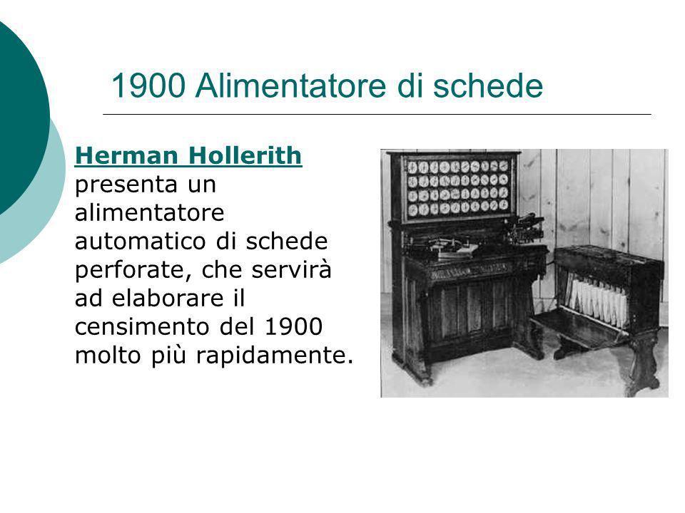 1900 Alimentatore di schede Herman Hollerith Herman Hollerith presenta un alimentatore automatico di schede perforate, che servirà ad elaborare il censimento del 1900 molto più rapidamente.