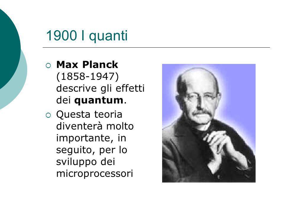 1900 I quanti Max Planck (1858-1947) descrive gli effetti dei quantum.
