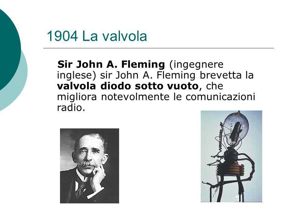 1904 La valvola Sir John A.Fleming (ingegnere inglese) sir John A.