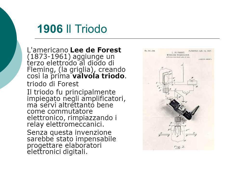 1906 Il Triodo L americano Lee de Forest (1873-1961) aggiunge un terzo elettrodo al diodo di Fleming, (la griglia), creando così la prima valvola triodo.
