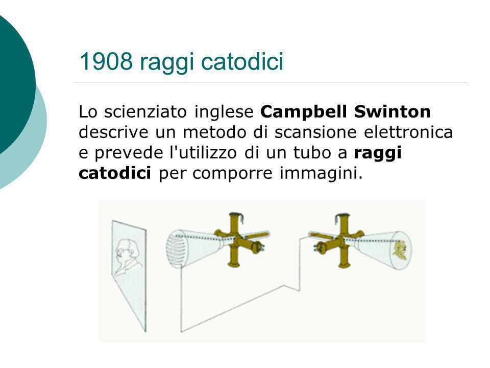 1908 raggi catodici Lo scienziato inglese Campbell Swinton descrive un metodo di scansione elettronica e prevede l utilizzo di un tubo a raggi catodici per comporre immagini.