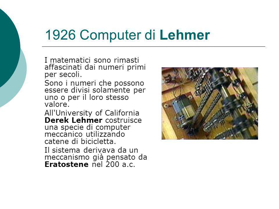 1926 Computer di Lehmer I matematici sono rimasti affascinati dai numeri primi per secoli.