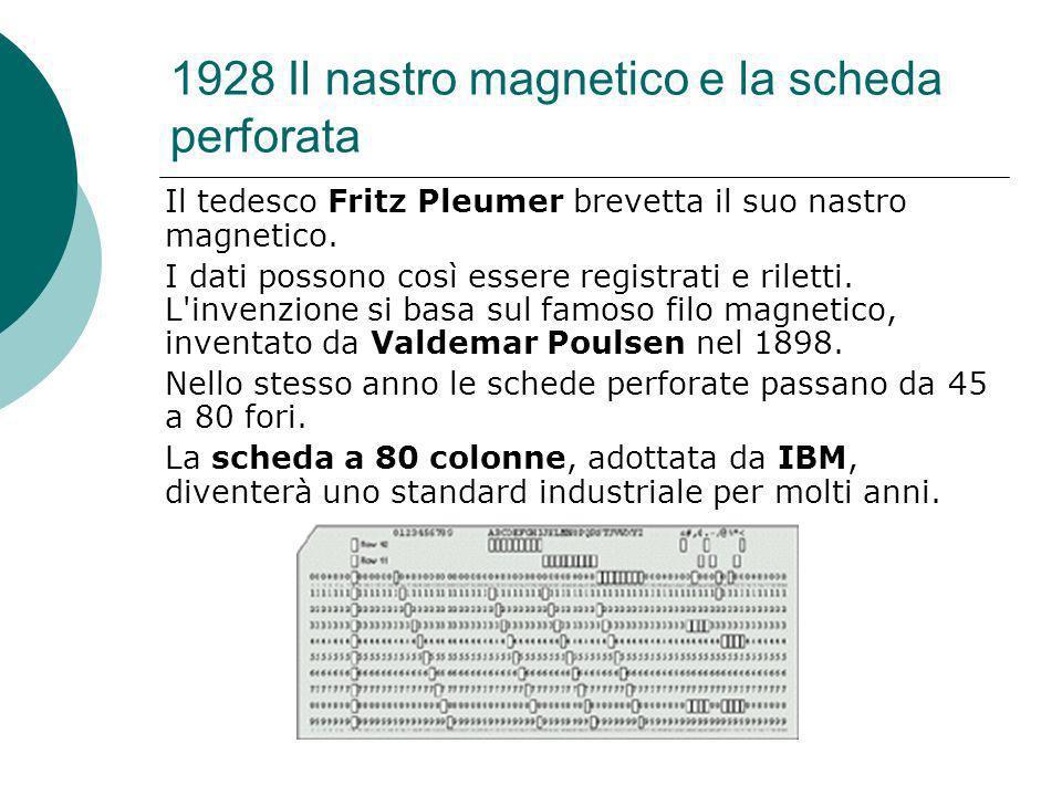 1928 Il nastro magnetico e la scheda perforata Il tedesco Fritz Pleumer brevetta il suo nastro magnetico.