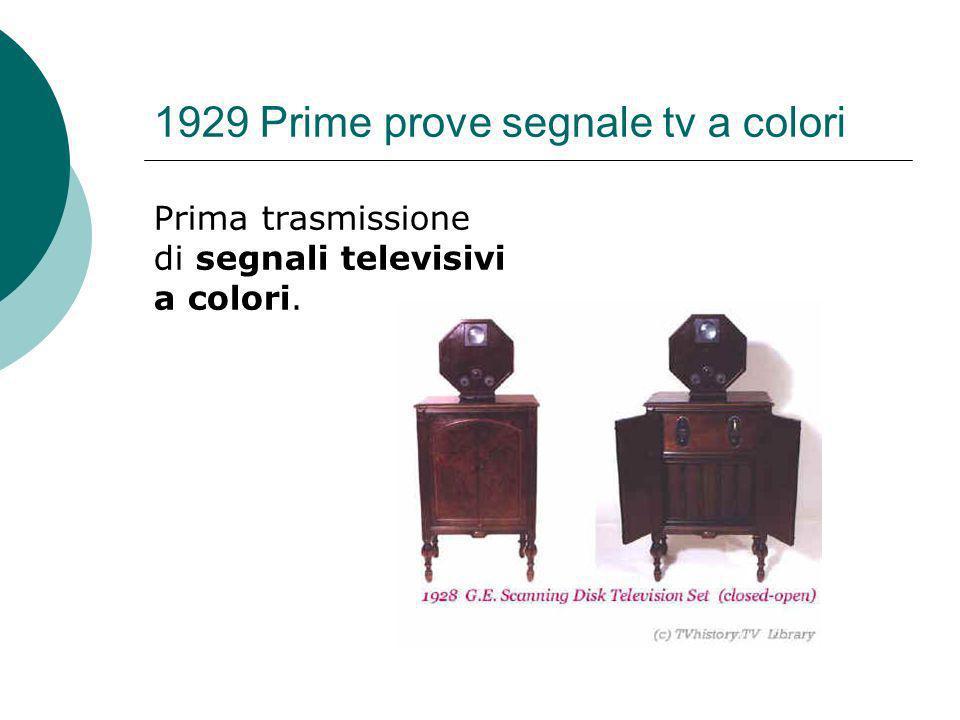 1929 Prime prove segnale tv a colori Prima trasmissione di segnali televisivi a colori.