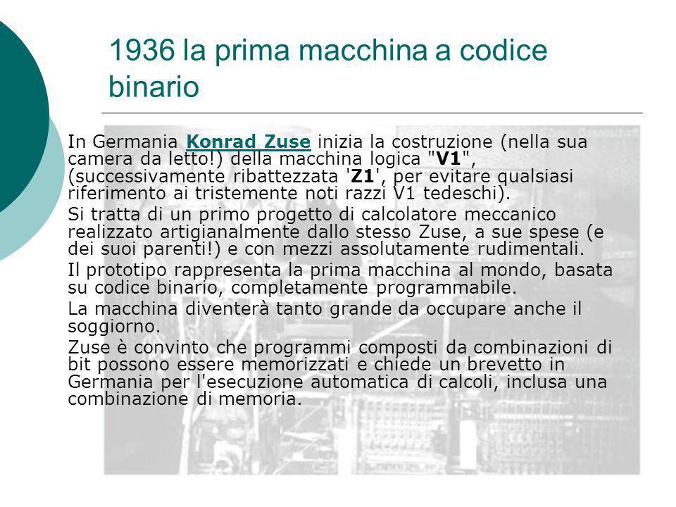 1936 la prima macchina a codice binario In Germania Konrad Zuse inizia la costruzione (nella sua camera da letto!) della macchina logica V1 , (successivamente ribattezzata Z1 , per evitare qualsiasi riferimento ai tristemente noti razzi V1 tedeschi).Konrad Zuse Si tratta di un primo progetto di calcolatore meccanico realizzato artigianalmente dallo stesso Zuse, a sue spese (e dei suoi parenti!) e con mezzi assolutamente rudimentali.