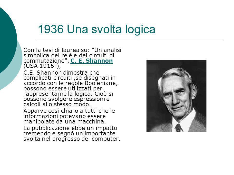 1936 Una svolta logica Con la tesi di laurea su: Un analisi simbolica dei relè e dei circuiti di commutazione , C.
