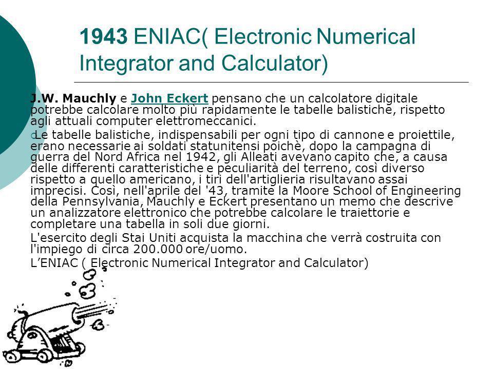 1943 ENIAC( Electronic Numerical Integrator and Calculator) J.W.