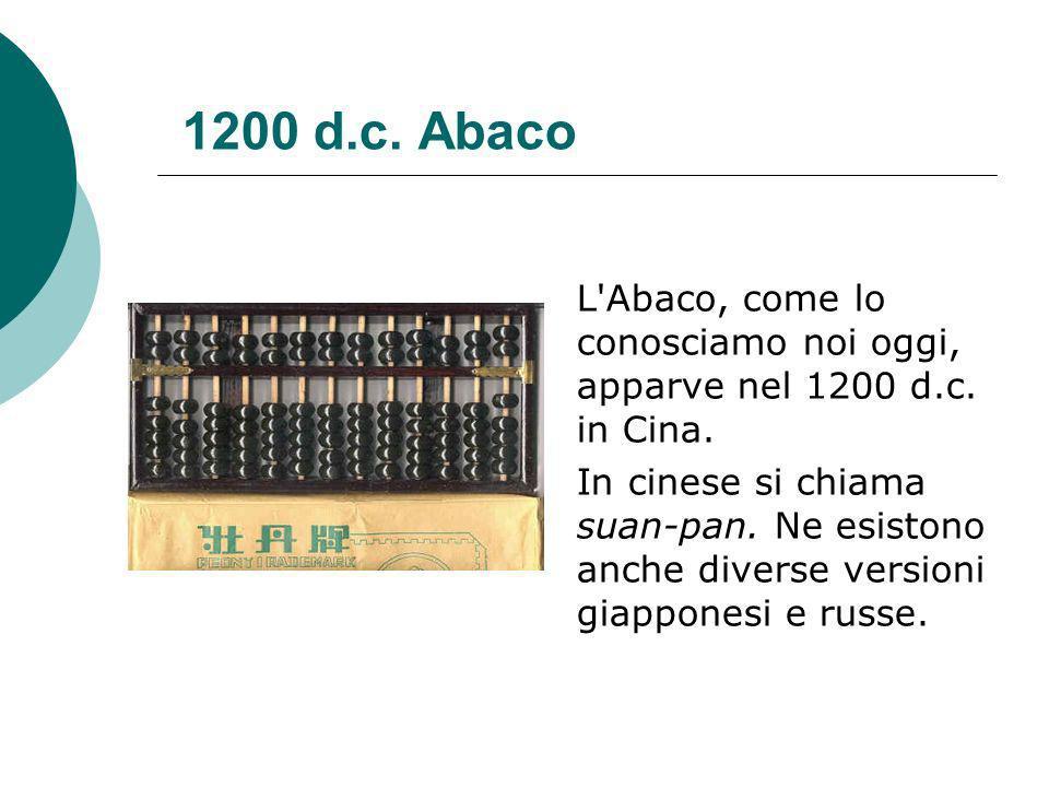 1200 d.c.Abaco L Abaco, come lo conosciamo noi oggi, apparve nel 1200 d.c.