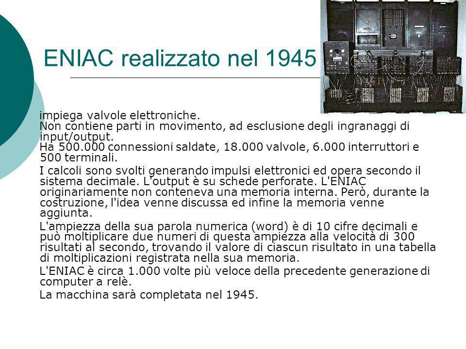 ENIAC realizzato nel 1945 impiega valvole elettroniche.