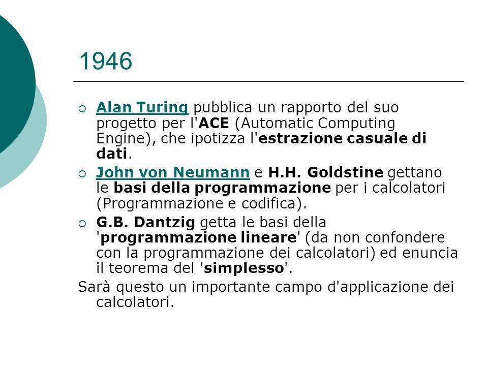 1946 Alan Turing pubblica un rapporto del suo progetto per l ACE (Automatic Computing Engine), che ipotizza l estrazione casuale di dati.