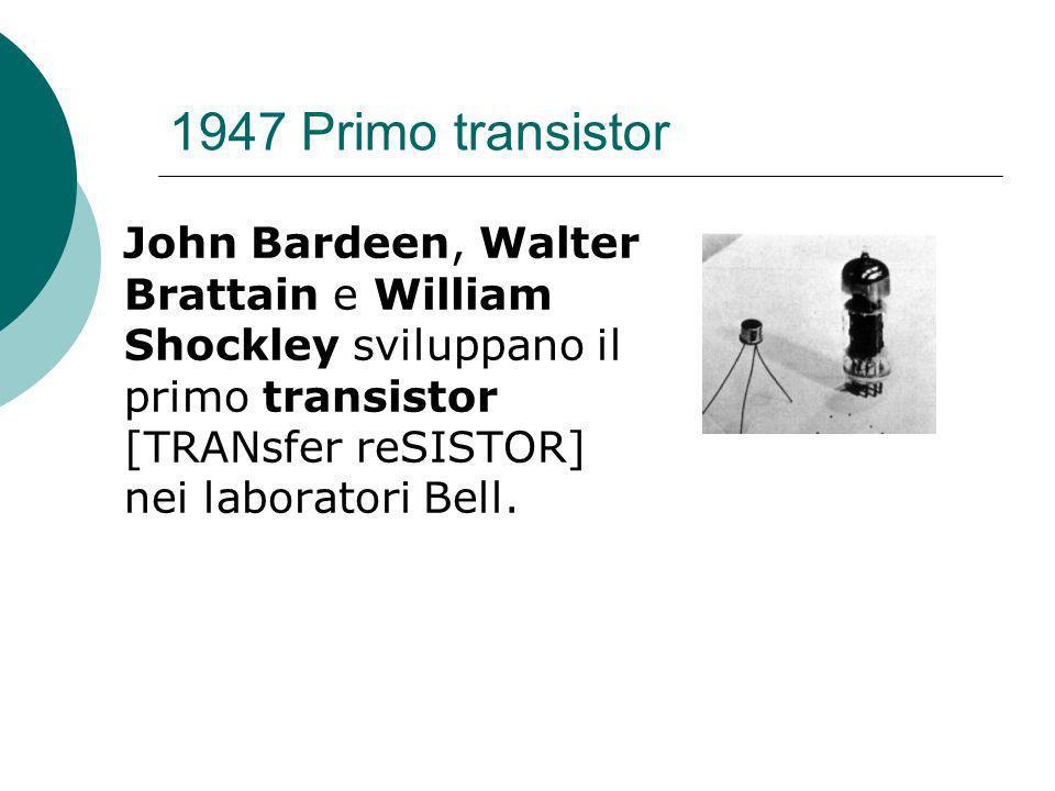 1947 Primo transistor John Bardeen, Walter Brattain e William Shockley sviluppano il primo transistor [TRANsfer reSISTOR] nei laboratori Bell.