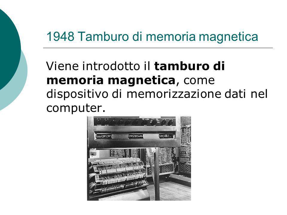 1948 Tamburo di memoria magnetica Viene introdotto il tamburo di memoria magnetica, come dispositivo di memorizzazione dati nel computer.