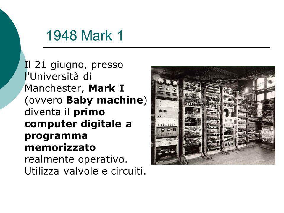 1948 Mark 1 Il 21 giugno, presso l Università di Manchester, Mark I (ovvero Baby machine) diventa il primo computer digitale a programma memorizzato realmente operativo.