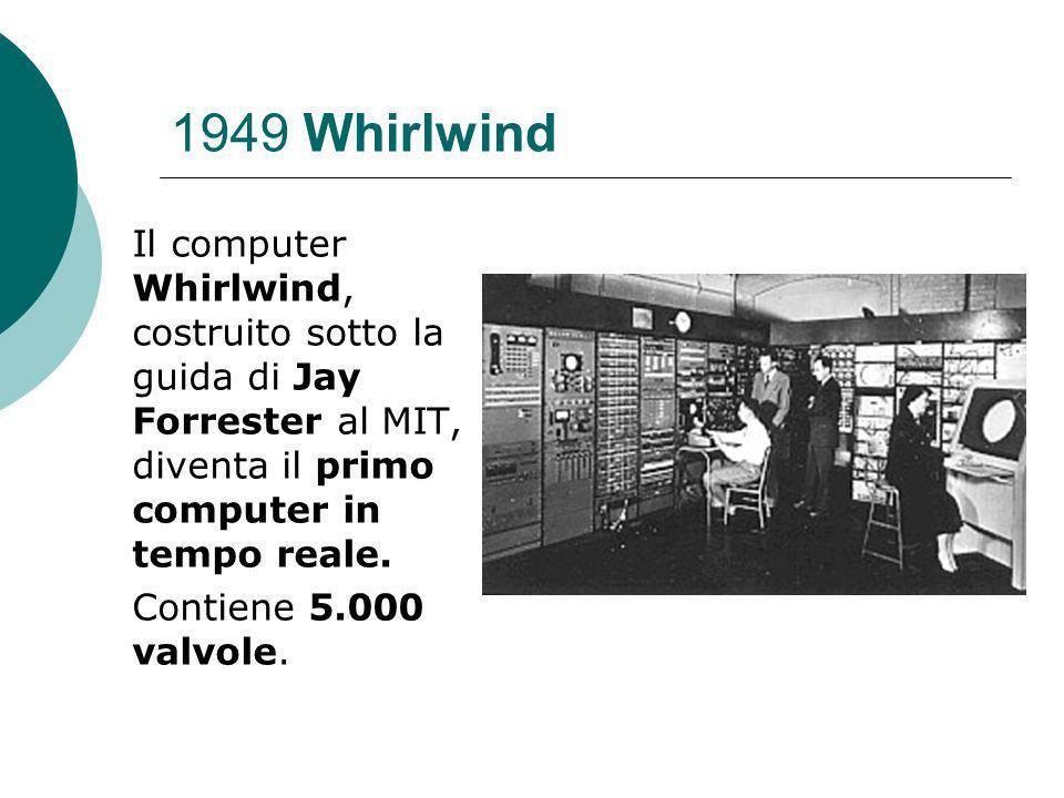 1949 Whirlwind Il computer Whirlwind, costruito sotto la guida di Jay Forrester al MIT, diventa il primo computer in tempo reale.