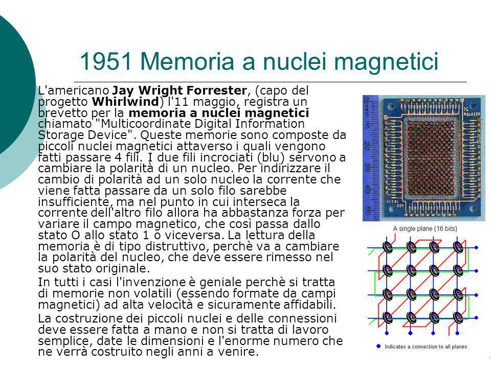 1951 Memoria a nuclei magnetici L americano Jay Wright Forrester, (capo del progetto Whirlwind) l 11 maggio, registra un brevetto per la memoria a nuclei magnetici chiamato Multicoordinate Digital Information Storage Device .