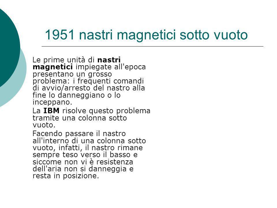 1951 nastri magnetici sotto vuoto Le prime unità di nastri magnetici impiegate all epoca presentano un grosso problema: i frequenti comandi di avvio/arresto del nastro alla fine lo danneggiano o lo inceppano.
