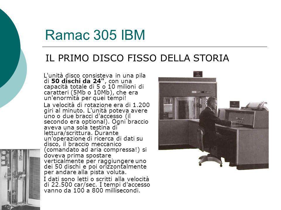 Ramac 305 IBM L unità disco consisteva in una pila di 50 dischi da 24 , con una capacità totale di 5 o 10 milioni di caratteri (5Mb o 10Mb), che era un enormità per quei tempi.