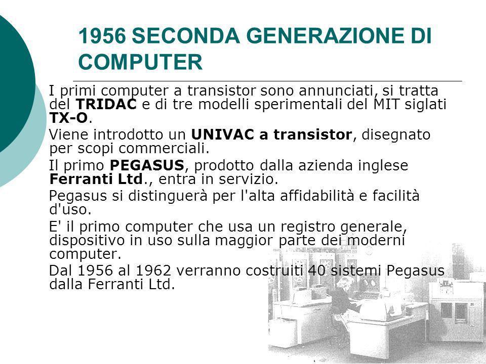 1956 SECONDA GENERAZIONE DI COMPUTER I primi computer a transistor sono annunciati, si tratta del TRIDAC e di tre modelli sperimentali del MIT siglati TX-O.