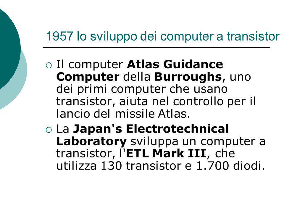 1957 lo sviluppo dei computer a transistor Il computer Atlas Guidance Computer della Burroughs, uno dei primi computer che usano transistor, aiuta nel controllo per il lancio del missile Atlas.