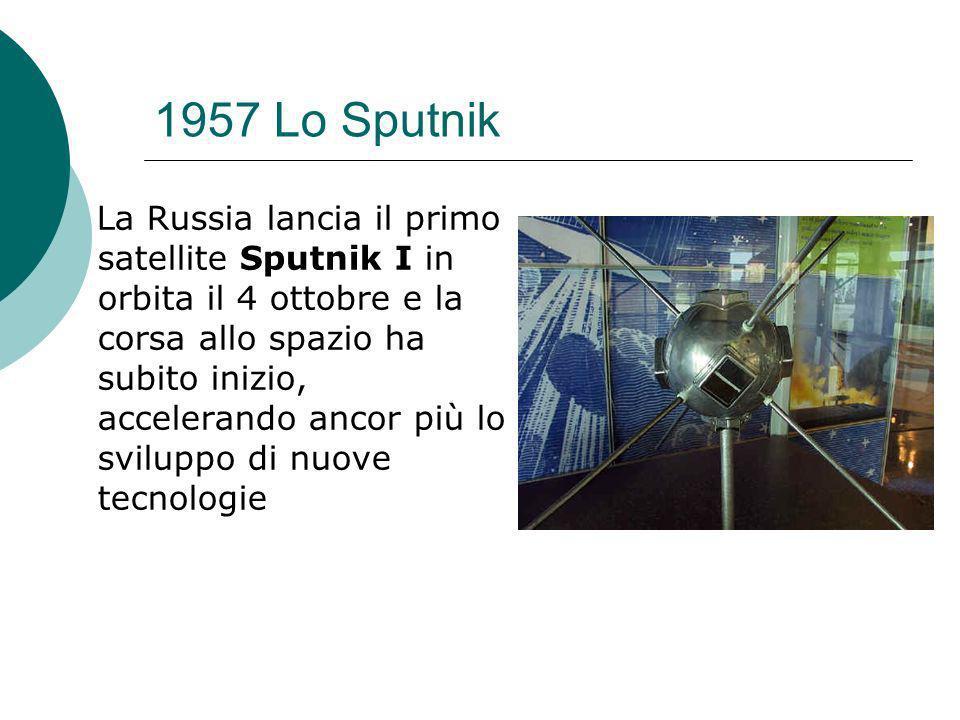 1957 Lo Sputnik La Russia lancia il primo satellite Sputnik I in orbita il 4 ottobre e la corsa allo spazio ha subito inizio, accelerando ancor più lo sviluppo di nuove tecnologie