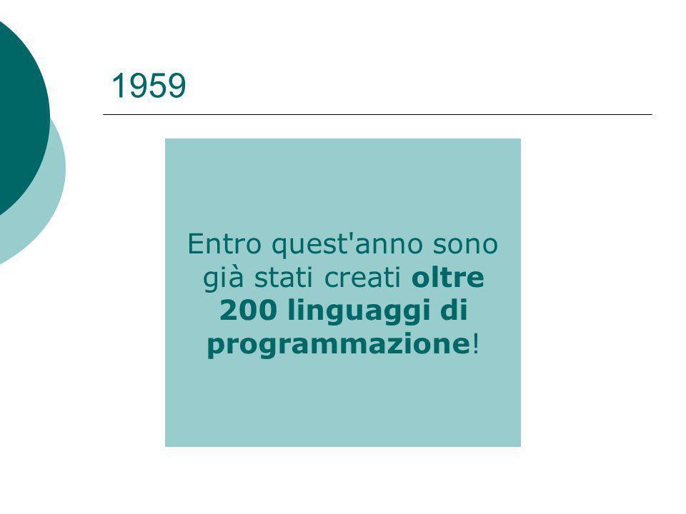1959 Entro quest anno sono già stati creati oltre 200 linguaggi di programmazione!
