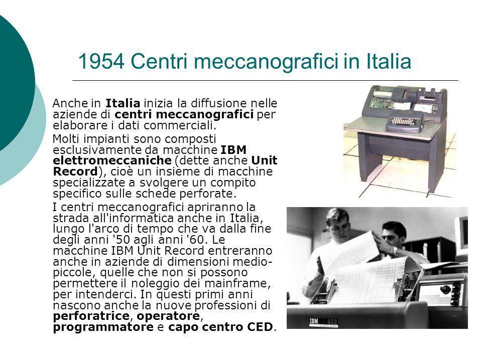 1954 Centri meccanografici in Italia Anche in Italia inizia la diffusione nelle aziende di centri meccanografici per elaborare i dati commerciali.