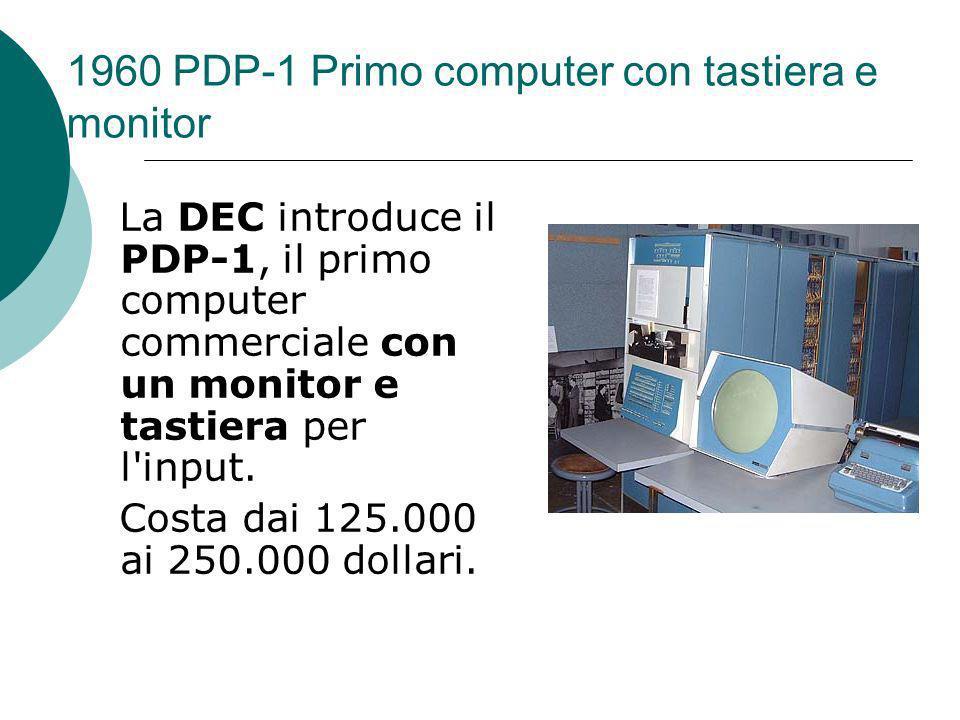 1960 PDP-1 Primo computer con tastiera e monitor La DEC introduce il PDP-1, il primo computer commerciale con un monitor e tastiera per l input.