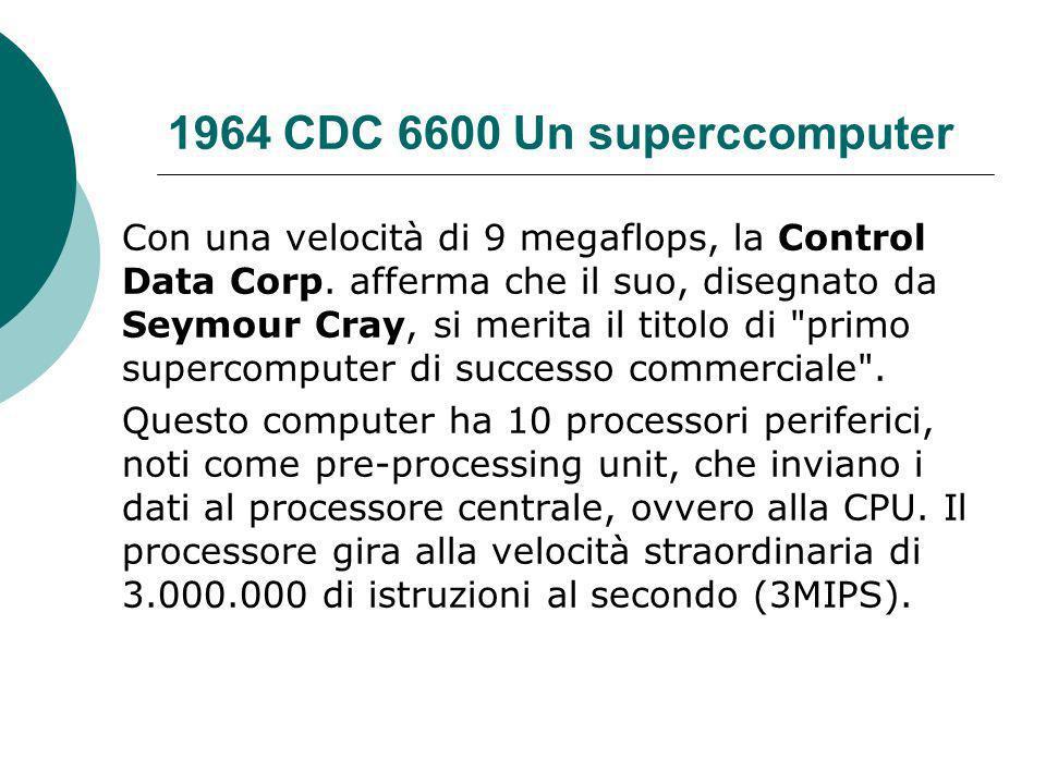 1964 CDC 6600 Un superccomputer Con una velocità di 9 megaflops, la Control Data Corp.