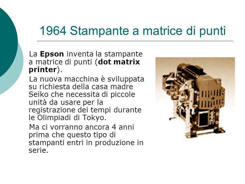 1964 Stampante a matrice di punti La Epson inventa la stampante a matrice di punti (dot matrix printer).