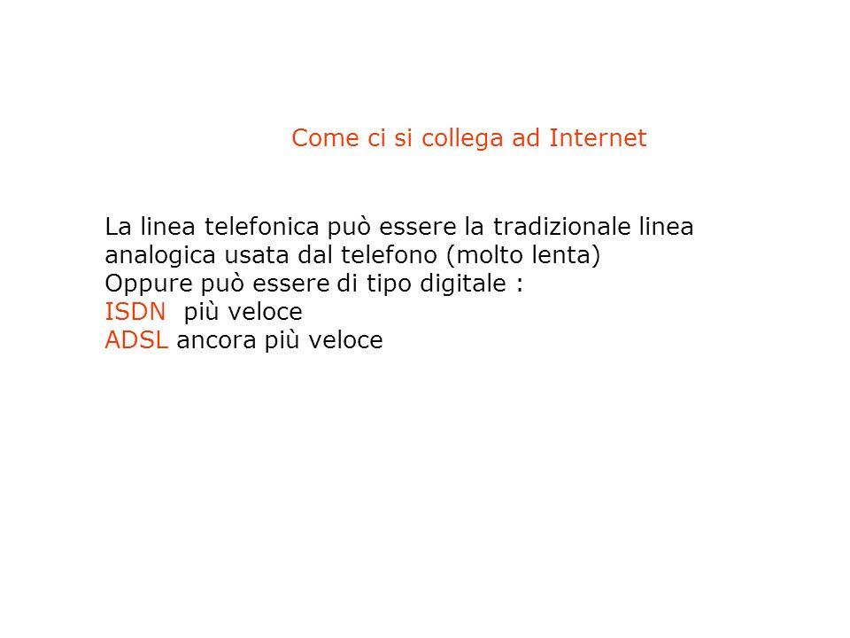 - Un dispositivo capace di mettere in comunicazione il computer con la rete esterna (MODEM se si usa una linea analogica, ROUTER se la linea è digitale) - un fornitore di connettività (collegamento al Provider (azienda che fornisce il collegamento alla rete Internet) - il software (browser, Internet Explorer o Mozilla) Come ci si collega ad Internet