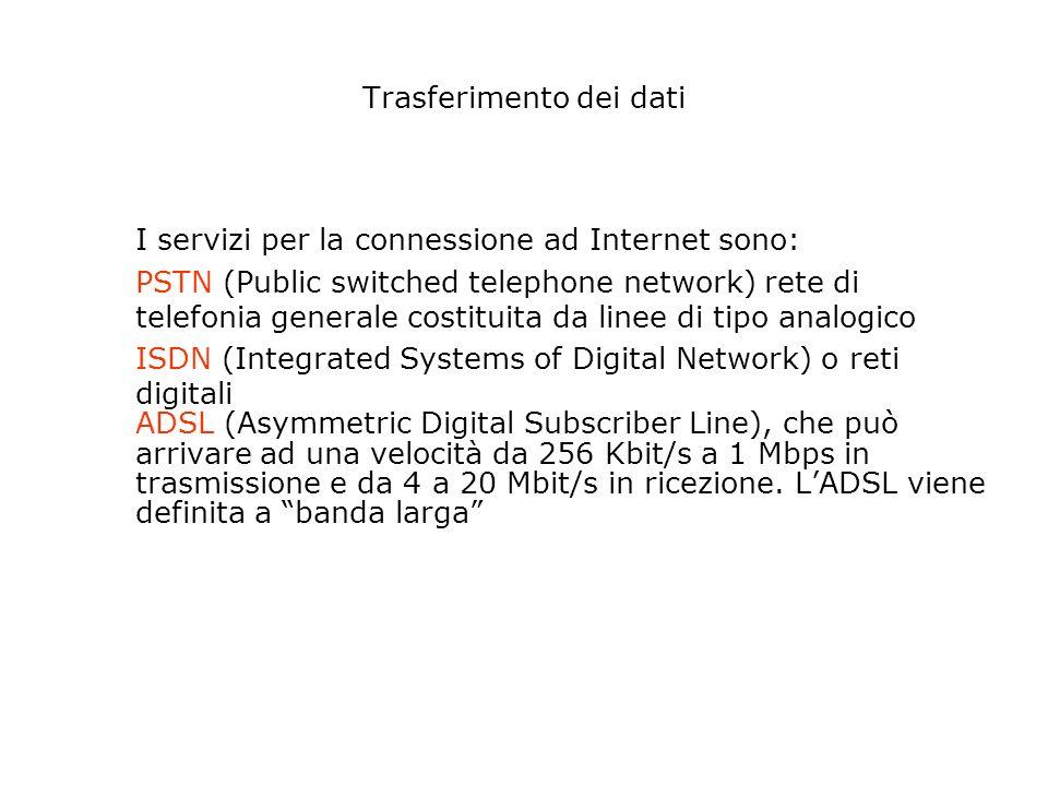 La linea telefonica può essere la tradizionale linea analogica usata dal telefono (molto lenta) Oppure può essere di tipo digitale : ISDN più veloce ADSL ancora più veloce Come ci si collega ad Internet