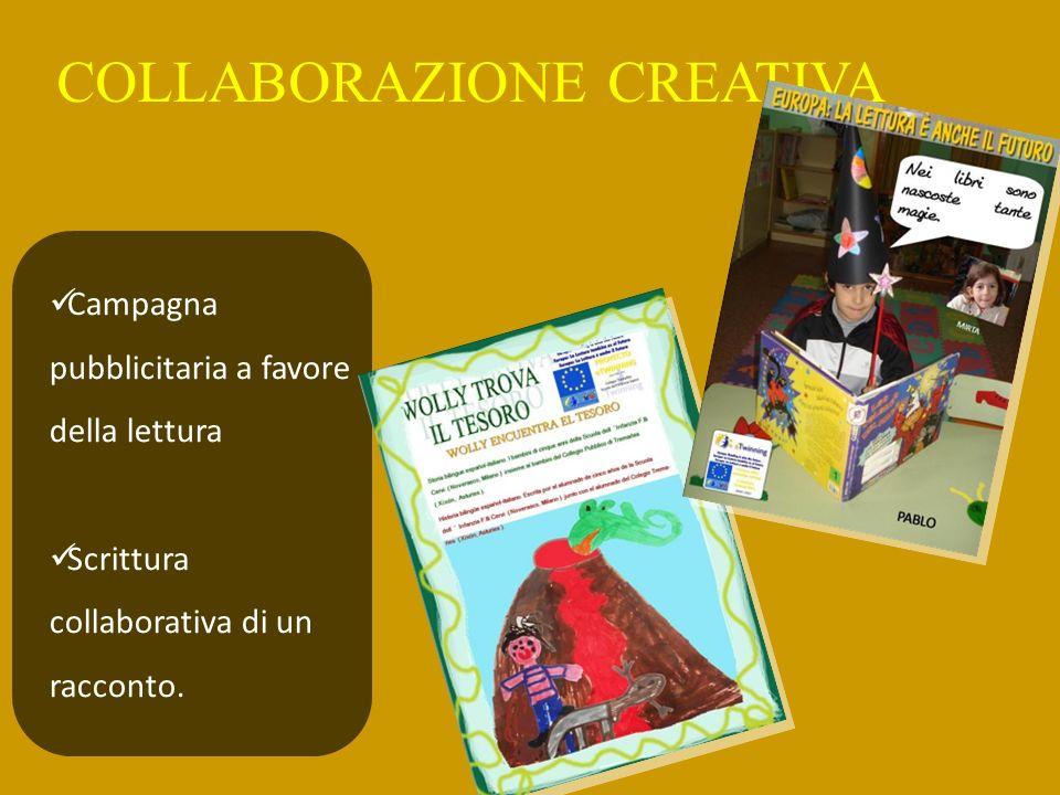 COLLABORAZIONE CREATIVA Campagna pubblicitaria a favore della lettura Scrittura collaborativa di un racconto.