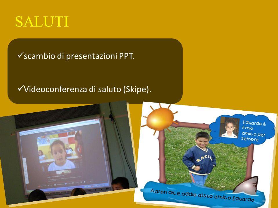 SALUTI scambio di presentazioni PPT. Videoconferenza di saluto (Skipe).