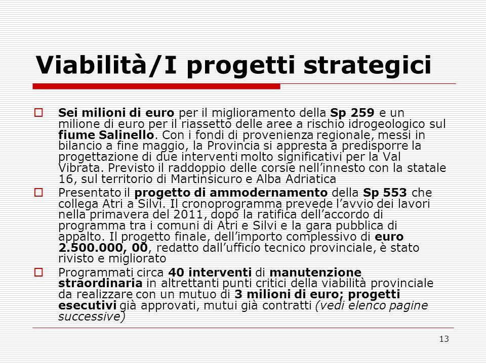13 Viabilità/I progetti strategici Sei milioni di euro per il miglioramento della Sp 259 e un milione di euro per il riassetto delle aree a rischio id