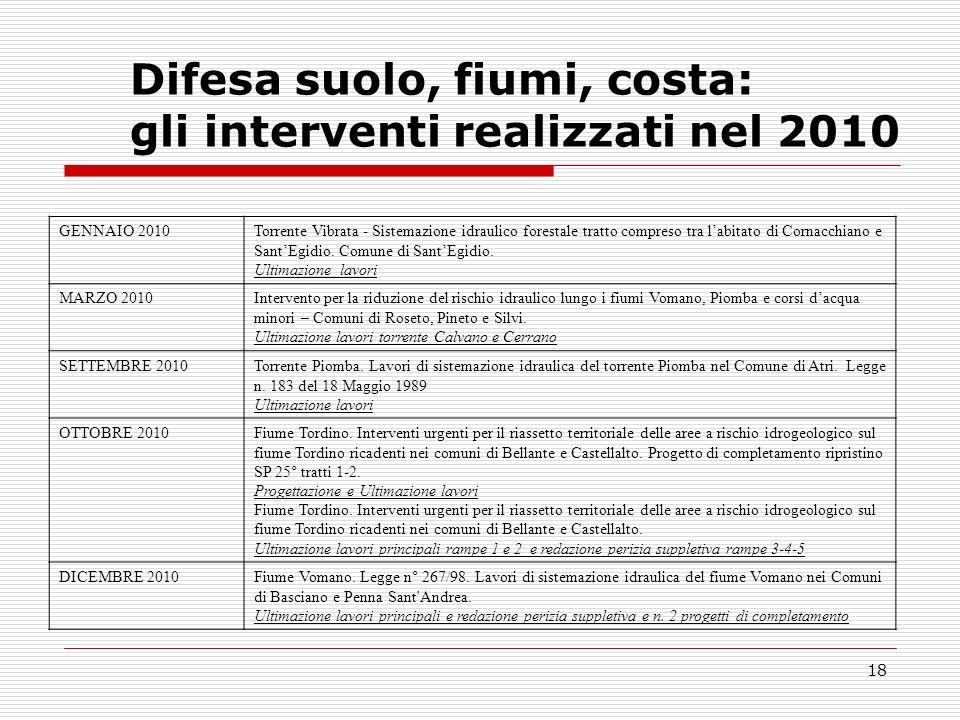 18 Difesa suolo, fiumi, costa: gli interventi realizzati nel 2010 GENNAIO 2010Torrente Vibrata - Sistemazione idraulico forestale tratto compreso tra